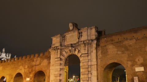 Porta San Giovanni. Zoom. Rome, Italy. 4K Footage