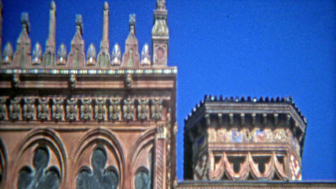 CASABLANCA, MOROCCO 1972: Tuscan style villa architecture style closeups Footage