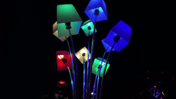 Huge lamps, outdoor, fast colorchanging, loopable Footage
