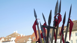 Spears And Halberds stock footage