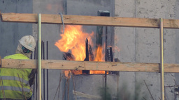 Fire on a construction site to warm up Footage