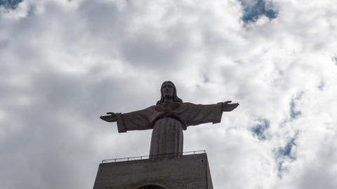 Jesus Christ Monument Cristo-Rei Lisboa In Lisbon stock footage