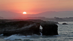 Picturesque Sunset Over As Catedrais Beach In Spain stock footage