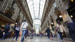 Visitors In Interior Of Famous Shopping Mall, Milan stock footage
