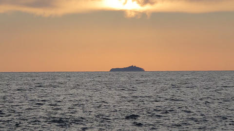 Island Near Dubrovnik, Croatia, At Sunset stock footage