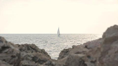 Beautiful sailboat sailing sail blue Adriatic sea Live Action