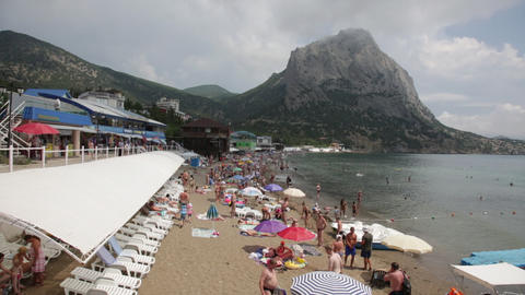 Vacationers On A Beach In The Crimea stock footage