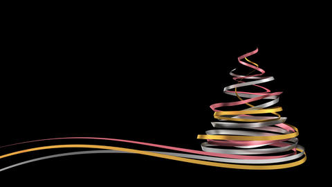 Christmas Tree From Pink, Yellow And White Tapes. Alpha Matte Animation