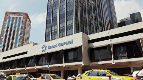 View Of Banco General Bank Building In Panama City Footage