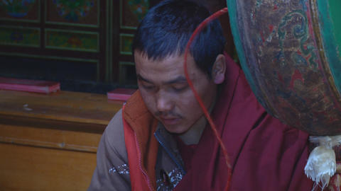 Buddhist Monk Chanting Mantras stock footage