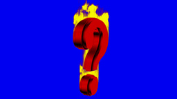 Burning questionmark, blue background, loopable Animation