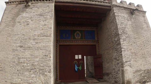 massive walls and gates to the ancient Buddhist monastery Footage
