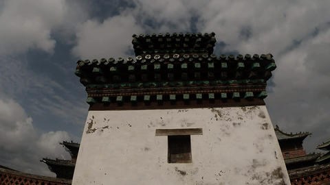 close-up of the wall of the old Mongolian Buddhist temple view from below Footage
