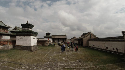 Tourists are on track in the territory of the old Mongolian Buddhist monastery Footage