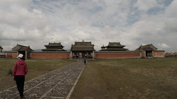 Erdene Zuu Buddhist monastery the overall plan and tourists are on track Footage