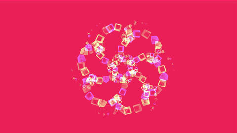 color glass cubes shaped flower pattern and ice block,tech web square matrix.particle,material,textu Animation