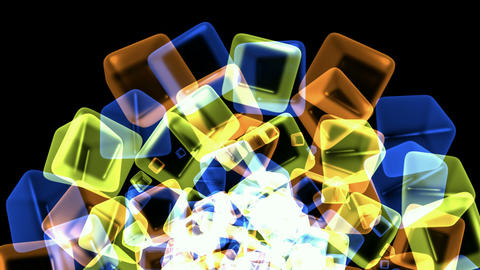 color crystal necklace,glass cubes shaped flower pattern and ice block,tech web square matrix.partic Animation