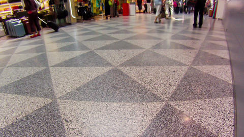 Walking Legs of Pedestrians at the Airport, Wideangle Stock Video Footage