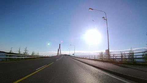 Driving through the Guyed Bridge Stock Video Footage