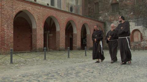 abbey monk 02 Stock Video Footage