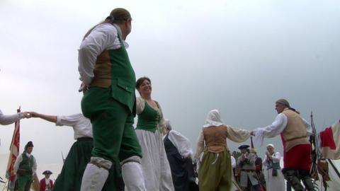 encampment dance 02B Stock Video Footage