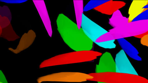 falling color feathers & paper debris,painting brush sign Stock Video Footage