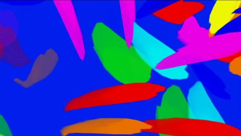 falling color feathers & paper debris Animation