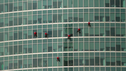 climbers on a skyscraper Footage