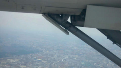 Aerial view. Plane gear Stock Video Footage