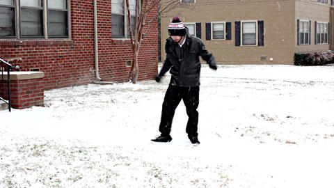 Teenage Hipster Celebrates 18th Birthday With Nerdy Dance In The Snow - Part 1 W stock footage