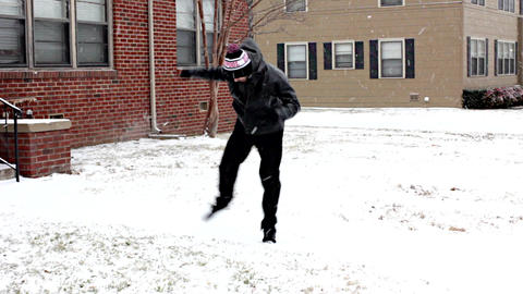 Teenage Hipster Celebrates 18th Birthday With Nerdy Dance in the Snow - Part 1 W Footage