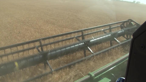 Inside Combine Looking At Header stock footage