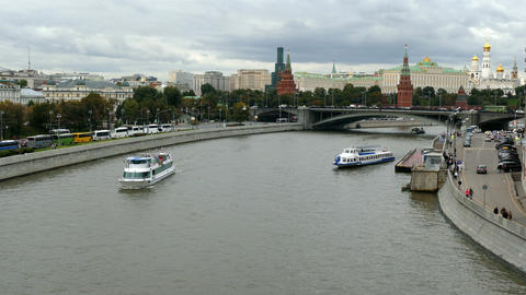 Moscow Kremlin and the river with the ship ,autumn 2015 Footage