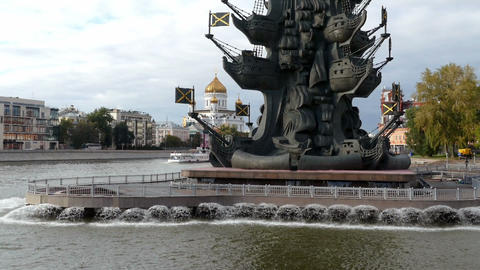 Ship On The Moscow River Near The Monument To Peter The Great And The Church Of  stock footage