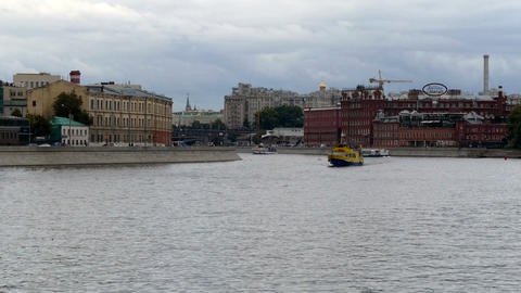 Pleasure boat on the background of old houses in Moscow Footage
