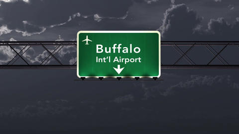 4K Passing Buffalo USA Airport Sign at Night with Matte 1 neutral Animation
