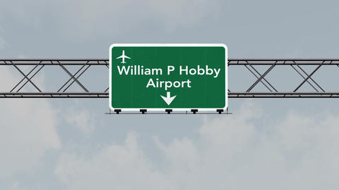 4K Passing Houston Hobby Airport Sign with Matte 1 neutral Animation