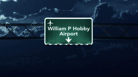 4K Passing Houston Hobby USA Airport Sign at Night with Matte 4 stylized Animation