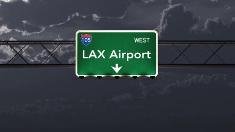 4K Passing Los Angeles USA Airport Sign at Night with Matte 1 neutral Animation