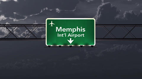 4K Passing Memphis USA Airport Sign at Night with Matte 1 neutral Animation