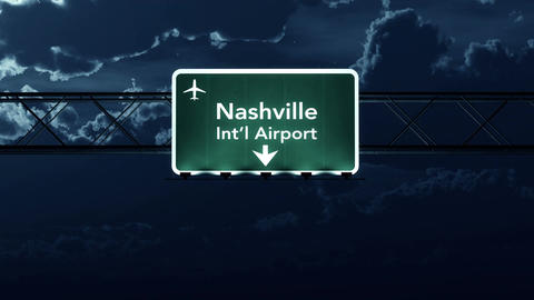 4K Passing Nashville USA Airport Sign at Night with Matte 2 stylized Animation