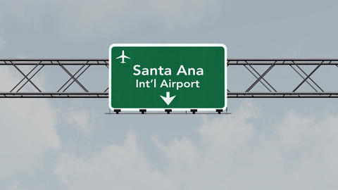 4K Passing Santa Ana Airport Sign with Matte 3 neutral Animation