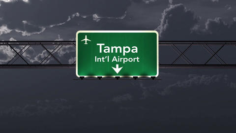 4K Passing Tampa USA Airport Sign At Night With Matte 1 Neutral stock footage