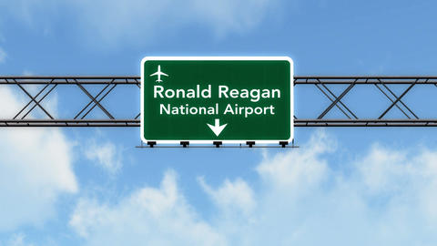 4K Passing Washington DC Reagan Airport Sign with Matte 2 stylized Animation
