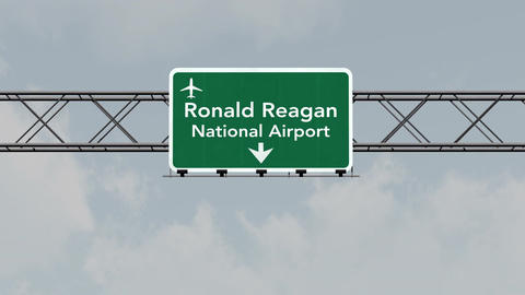 4K Passing Washington DC Reagan Airport Sign with Matte 1 neutral Animation