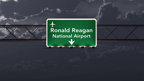 4K Passing Washington DC Reagan USA Airport Sign at Night with Matte 1 neutral Animation