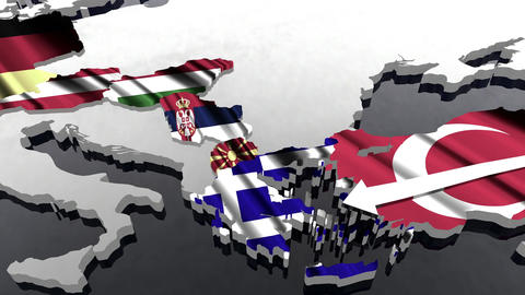 4 K Way of the Syrian Migrants Refugees to Europe in 2015 4 stylized Animation