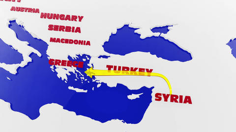 4 K Way of the Syrian Migrants Refugees to Europe in 2015 v 2 1 Animation