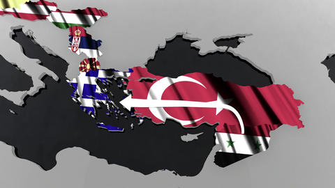 4 K Way of the Syrian Migrants Refugees to Europe in 2015 6 stylized Animation