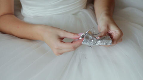 Bride Takes Out Her Wedding Jewerly stock footage